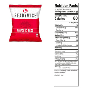 ReadyWise Emergency Freeze Dried Powdered Eggs - 144 Servings