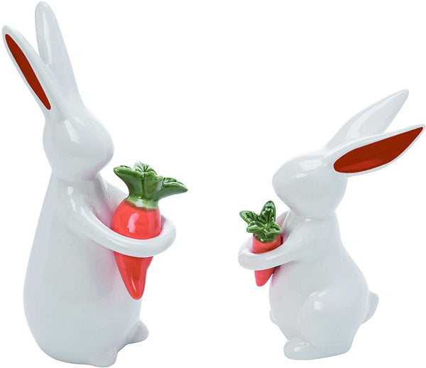 Transpac - White Ceramic Small Easter Chic Bunnies with Carrots Set of 2