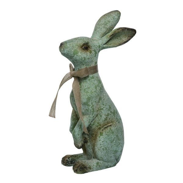 Transpac - Large Green Easter Rustic Standing Bunny Statuette