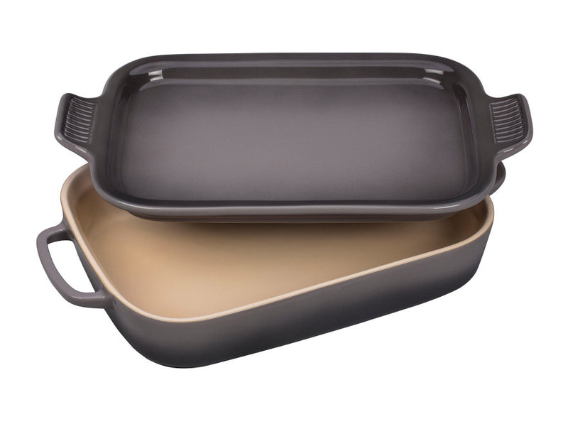 Le Creuset - Rectangular Dish With Platter Lid 2.75Qt - Oyster