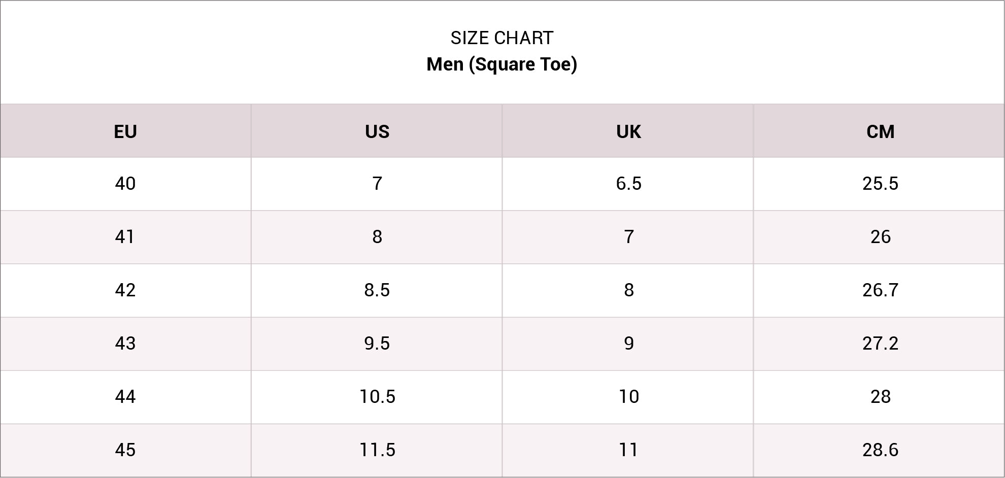 size chart Men-Square Desktop