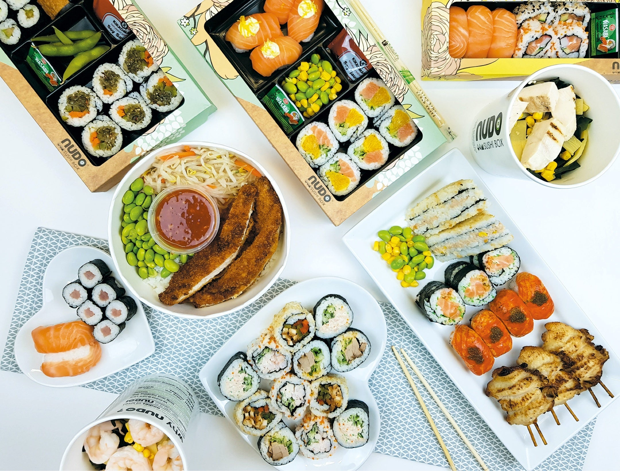 A selection of Nudo Sushi Box products