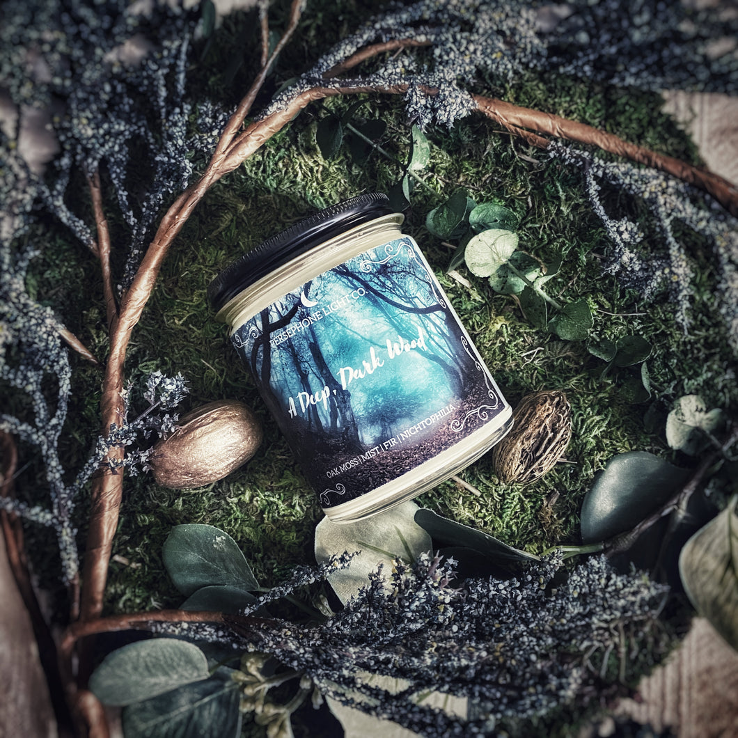 Take a walk in A Deep, Dark Wood as imagined by Jacob & Wilhelm. You smell the aromas of pine fir and oak moss snaking through the misty air as you notice rustling in the shadowy underbrush and you wonder what is lurking in the darkness around you.