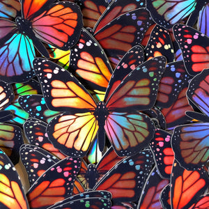 Daggerwing & Blue Buckeye Butterfly Holographic Sticker Set