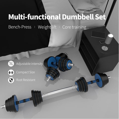 Blue barbell and dumbbell weight set