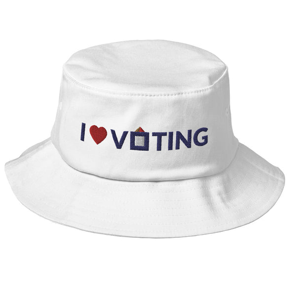 I Heart Voting Old School Bucket Hat