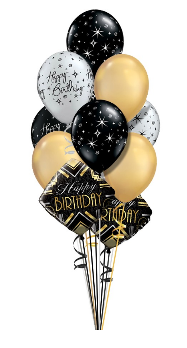 Elegant Birthday Silver Gold Black Balloon Bouquet