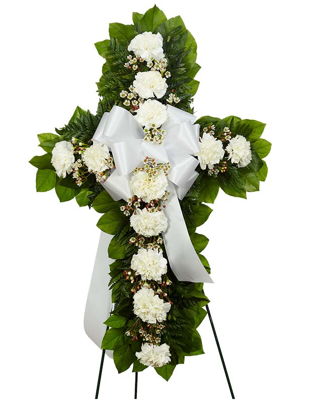 White Flower Sympathy Standing Cross