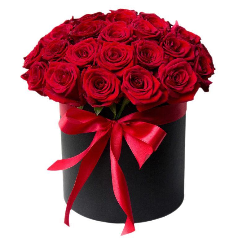 Tender Love Red Roses in a Hatbox