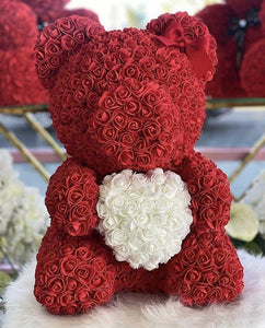 Rose covered teddy bears