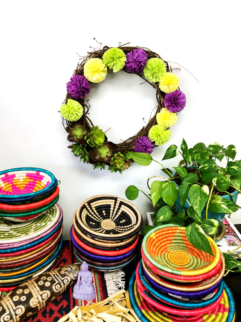 DIY It: Succulent and Raffia Pom Pom Wreath