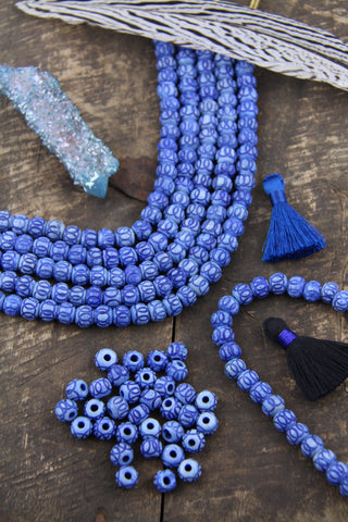 Blue Carved Rondelle Bone Beads