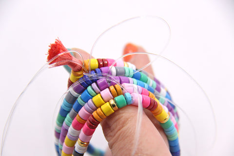 How to make trendy colorful stacking beaded elastic bracelet, by WomanShopsWorld