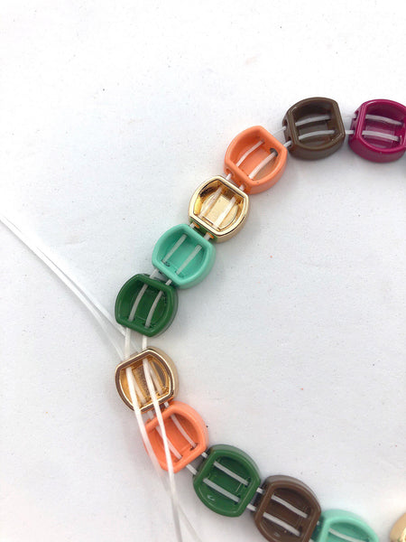 Steps for stringing 2-hole beads