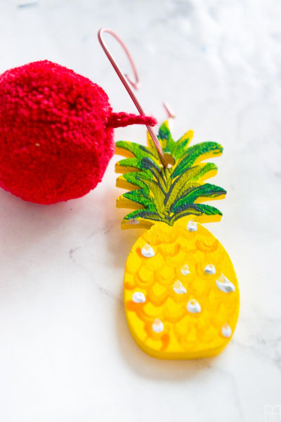 Pineapple and Pom Pom Wine Glass Charms by PMQforTWO