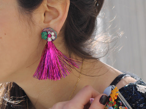 DIY Mixed Media Tassel Earrings by The Neon Tea Party