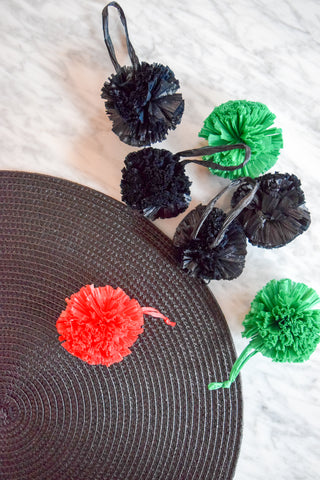 DIY Upcycled Placemat Clutch with Pom Poms