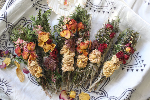 Floral Sage Wand for Cleansing, Ritual, and Healing, from WomanShopsWorld