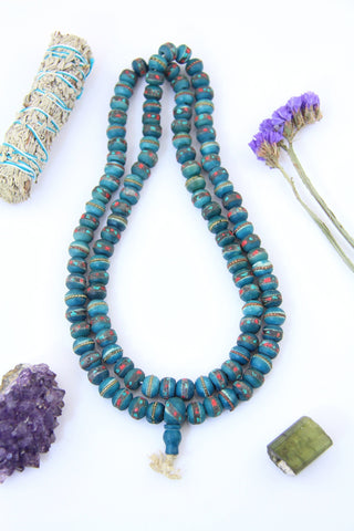 Green Inlaid Bone Bead Mala from Nepal