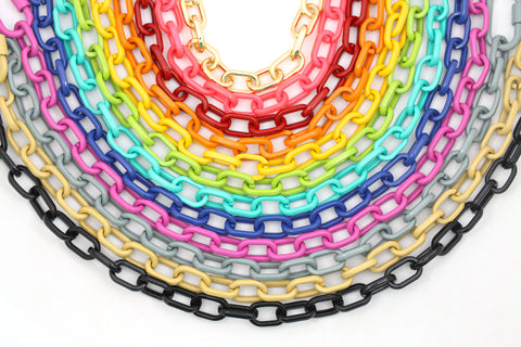 Luxe Link Enamel Chain Necklaces from WomanShopsWorld
