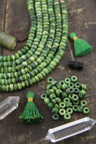 Mossy Green Rondelle Bone Beads