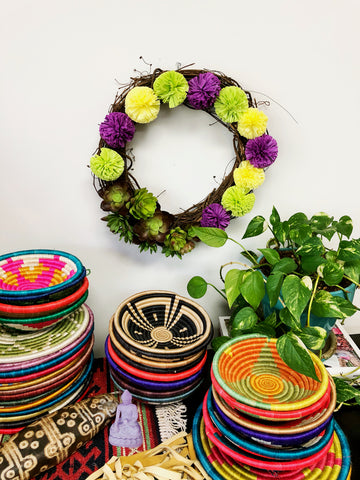 Raffia Pom Pom + Succulent Wreath from WomanShopsWorld