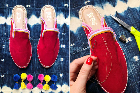 Sew Pom Poms onto your shoes with Marisa from The Neon Tea Party