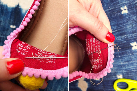 How to sew Pom Poms onto your shoes with Marisa from The Neon Tea Party