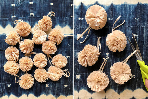 Raffia Pom Poms for DIY, Decor, and more