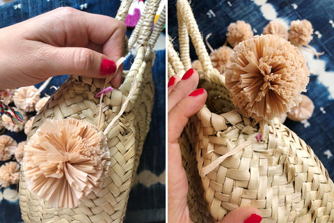How to add Raffia Pom Poms to a straw bag