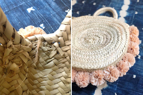 How to attach Raffia Pom Poms to a Straw Bag