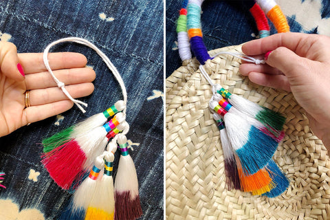 Hang tassels from your purse strap for a fun pop of color.