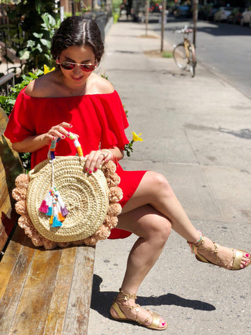 DIY Raffia Straw Pom Pom Bag with The Neon Tea Party and WomanShopsWorld