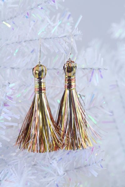 Mixed Metal Tinsel Tassels, Festive Metallic Bling Holiday Decor & Jewelry Making Supplies