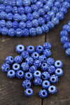 Blue Handmade Carved Rondelle Bone Beads, 8x7mm Jewelry Making Supplies, Round Mala Spacers