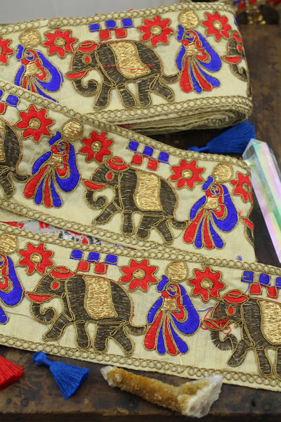 Elephant Sari Border, Silk Trim from India