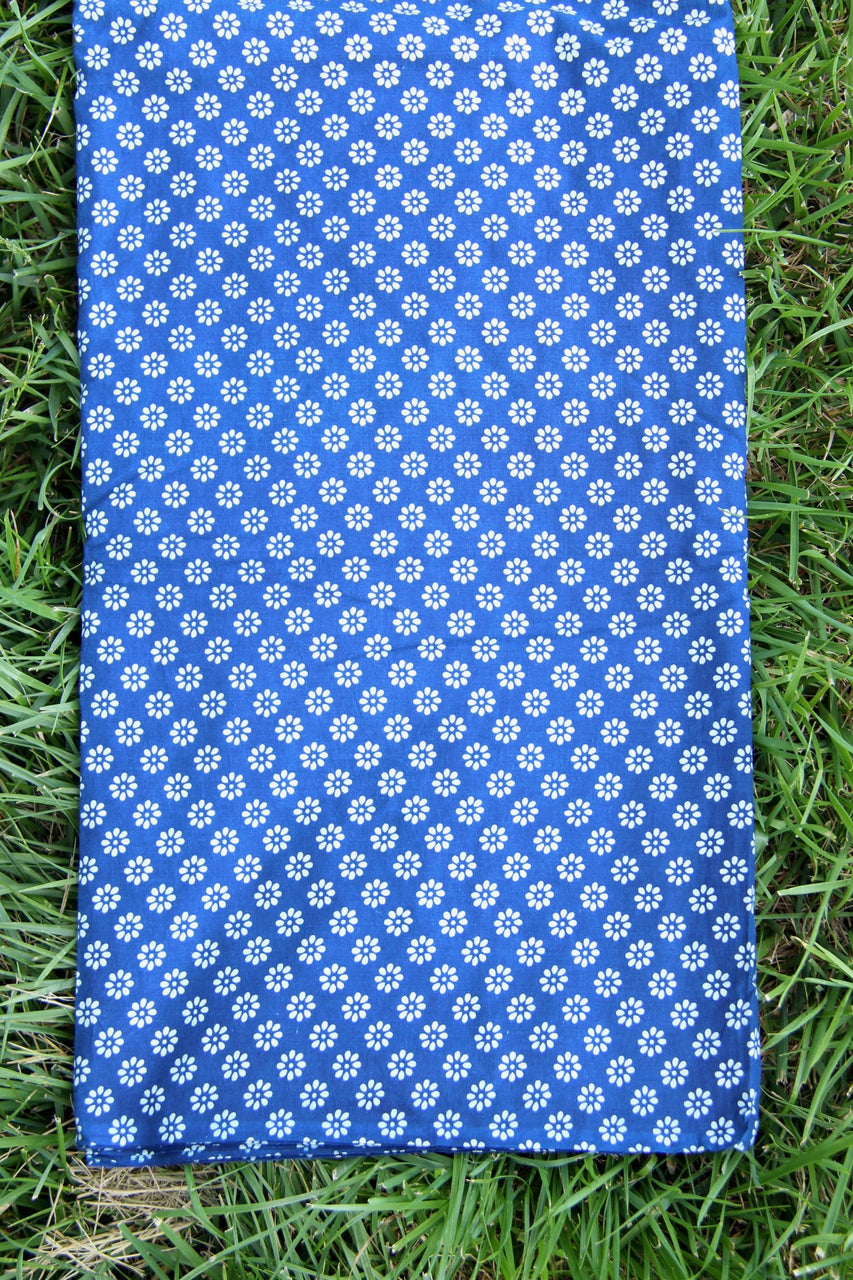 Hand Block Print 100% Cotton Fabric by the yard, Blue and White Floral Motif
