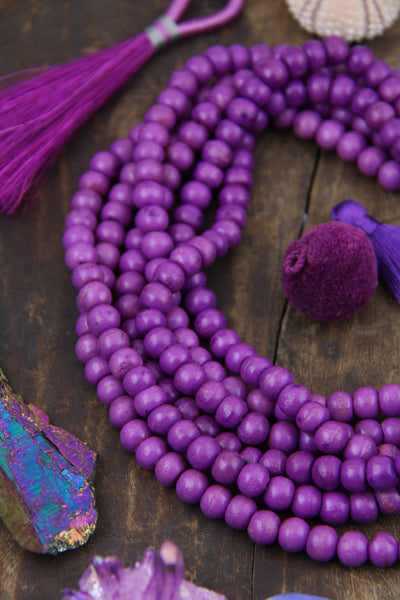 Purple Bone Mala Beads, Boho Yoga Jewelry Making Supply, Yoga Mala