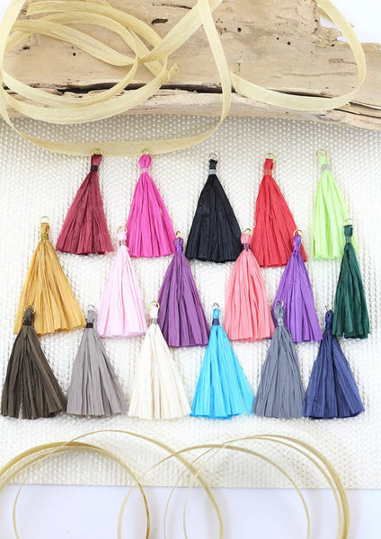 "Raffia Tassels for Earrings, 2.25"" Handmade Fringe Jewelry Making Pendant, 1p"