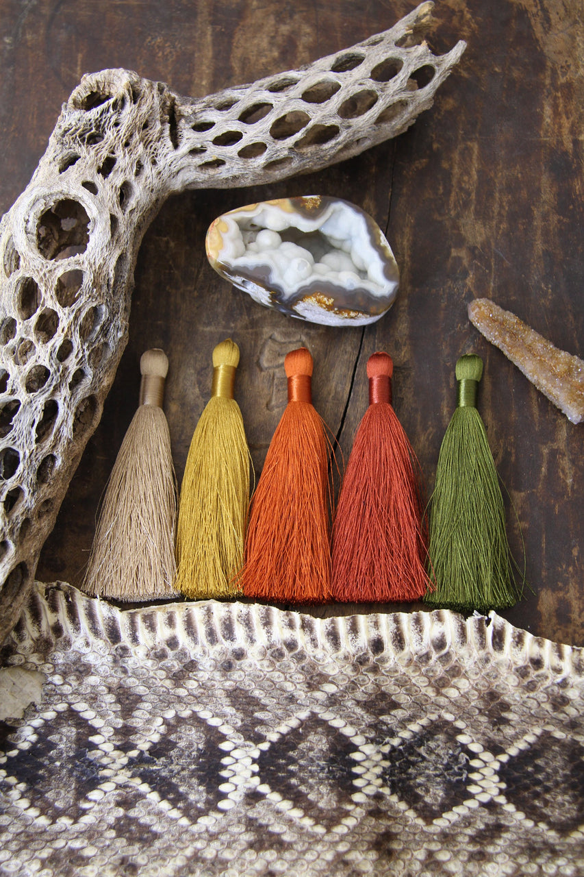 "Desert Vibe Tassels: Original Silky Luxe, 3.5"" Neutral Fringe Charms, Jewelry and Mala Making Supply"