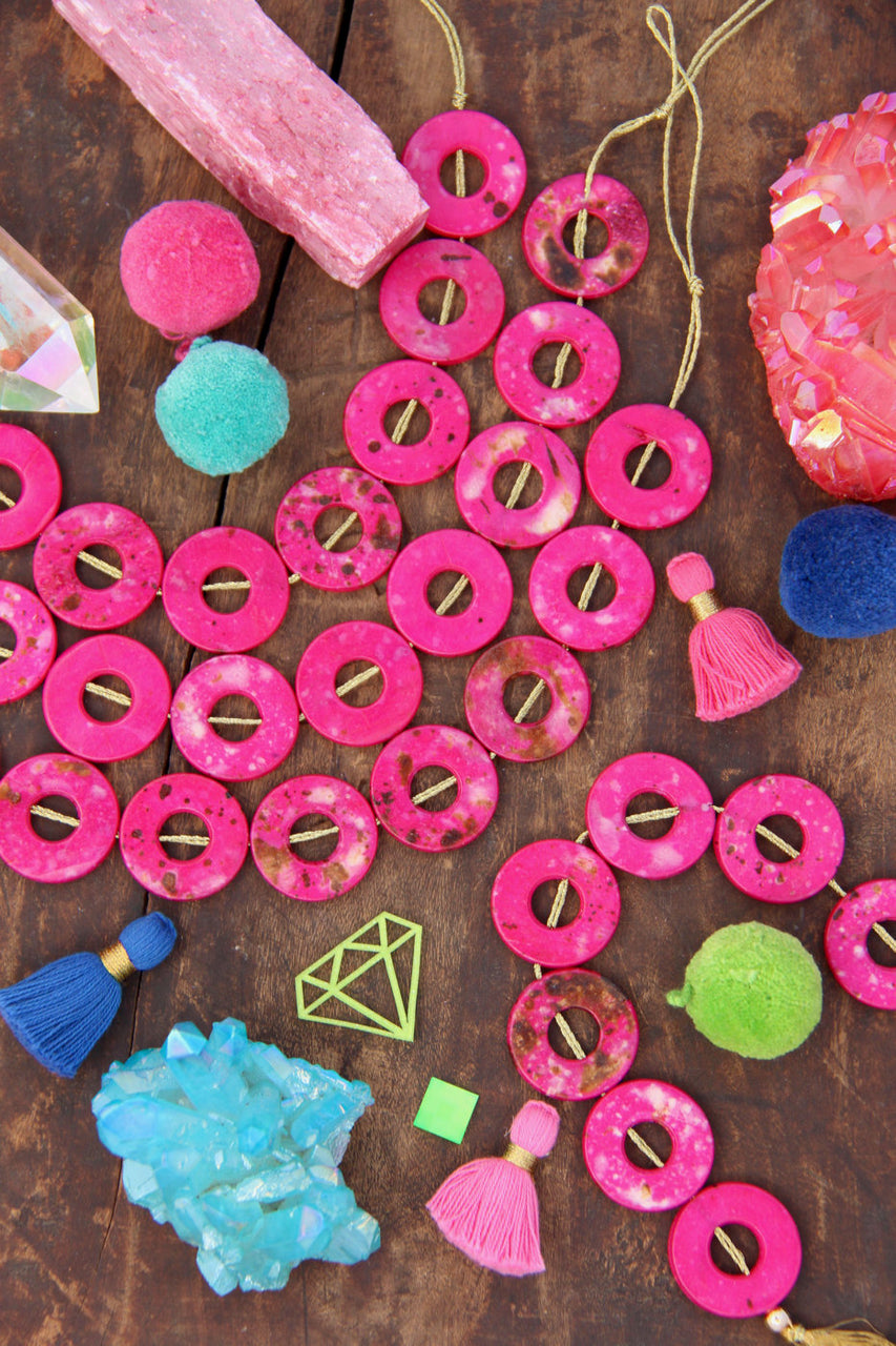 Magenta Tribal Donut: Hand Painted Beads, 25mm, 8 pieces