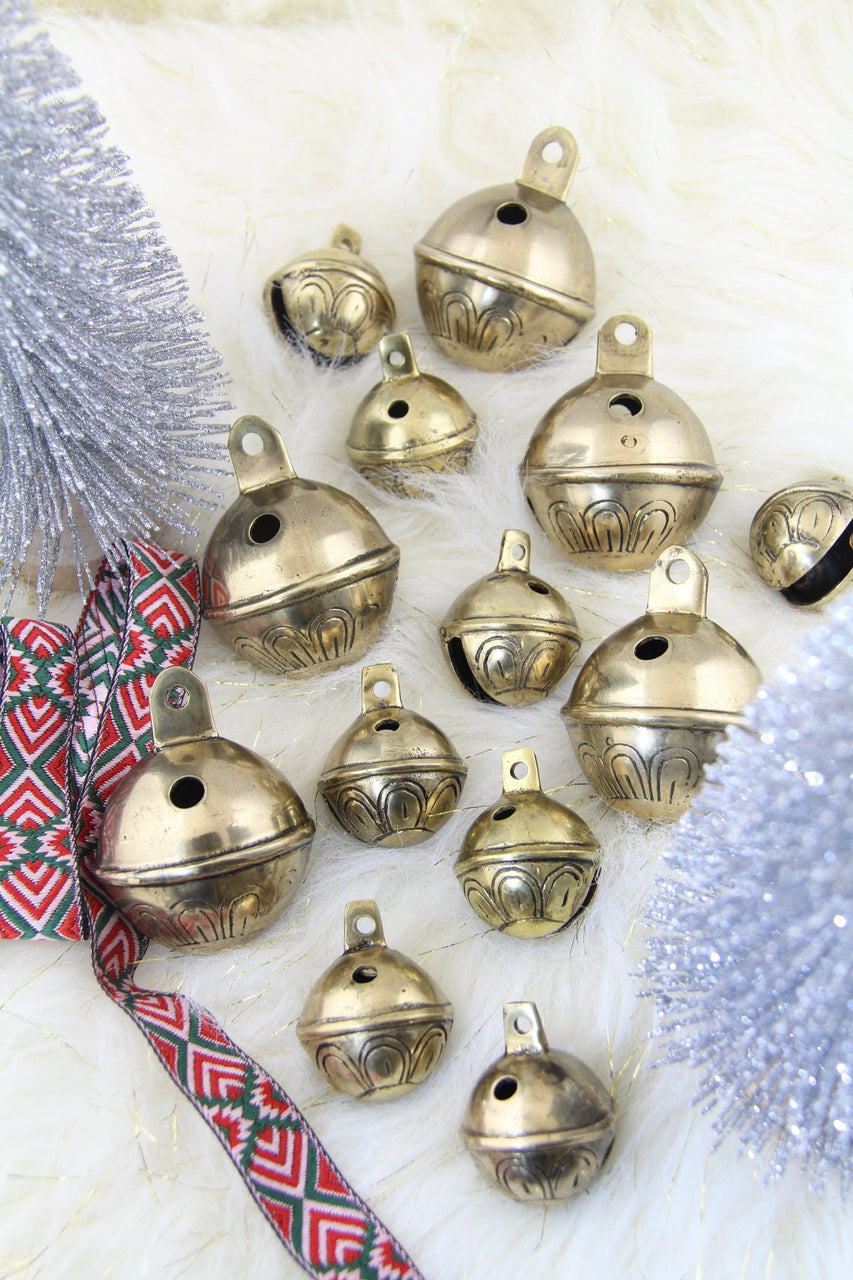 Jingle Bell: Modern Christmas Vintage Round Brass Bell from India