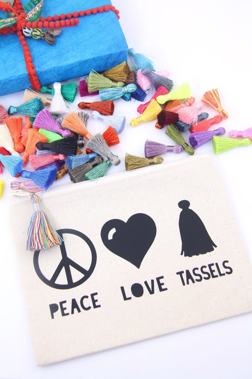 Peace, Love, Tassels Zipper Pouch for Craft Supplies, Unique Gift for Creatives