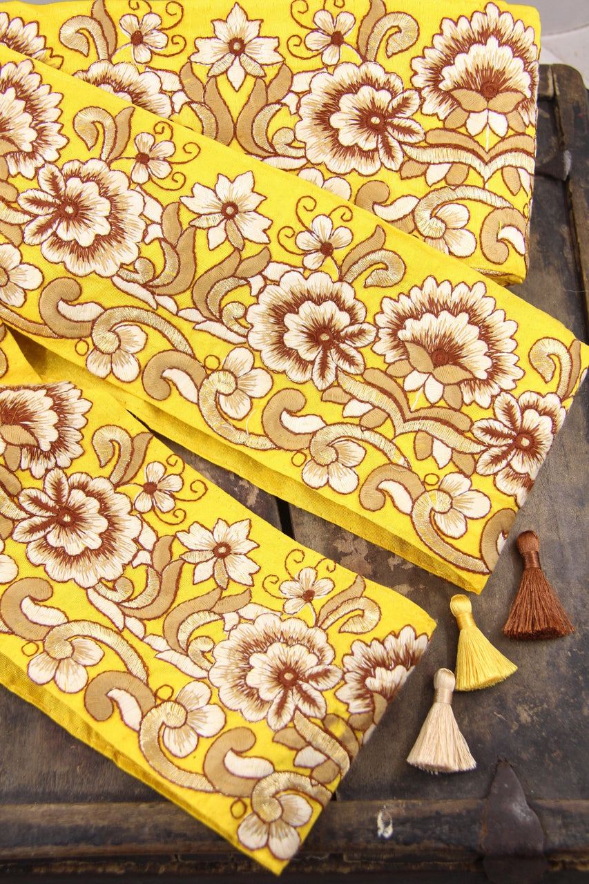 "Yellow and Gold Silk Trim, Sari Border from India, 4"" Ribbon, Gen Z Yellow Craft & Sewing Supplies"