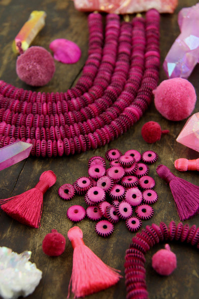 Pink & Black Serration : Hand Carved Bone Beads, 10x3mm,  68+ Pieces