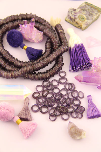 Plum Purple Dutch Donut Dogan Beads: 11-12mm, 10 Pieces