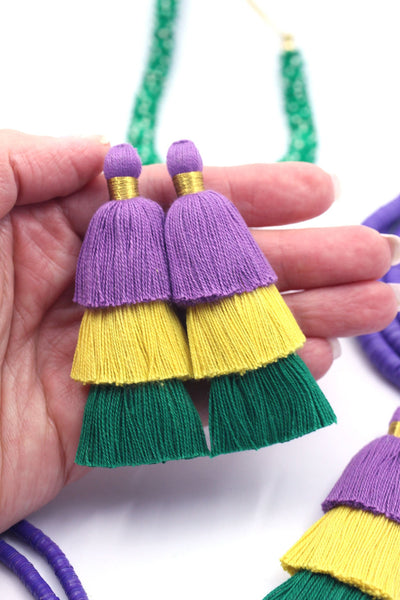 "Mardi Gras Tiered Cotton Tassels, 3"" Handmade Fringe Pendants, Jewelry Making Supplies"