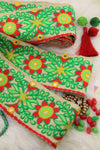 "Holiday Passion Flower : Floral Red, Green, Silk Trim, Ribbon 3.75""x1 Yard, Craft, Sewing Supply"