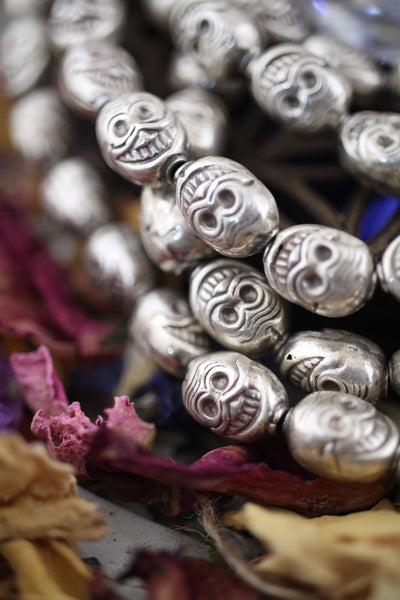 Smiling Skulls: 11x8mm Sterling Silver Beads, 4 Pieces