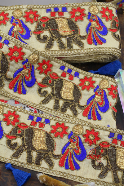 "Golden Elephant Parade: Red, Blue, Gold Silk Ribbon, 3 1/4""x 1 yd"